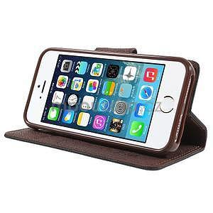 Dvoubarevné peněženkové pouzdro na iPhone 5 a 5s - černé/hnědé - 4