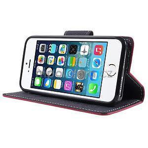Dvoubarevné peněženkové pouzdro na iPhone 5 a 5s - rose/tmavěmodré - 4