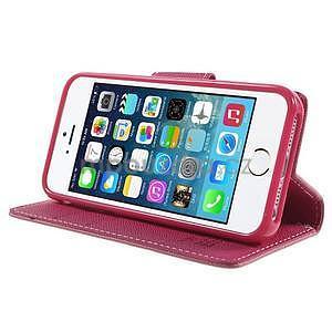 Dvoubarevné peněženkové pouzdro na iPhone 5 a 5s - růžové/rose - 4