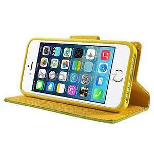 Dvoubarevné peněženkové pouzdro na iPhone 5 a 5s - zelené/žluté - 4