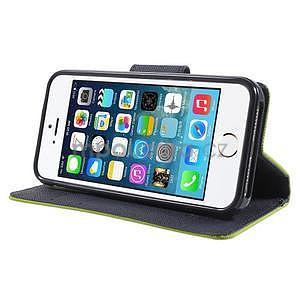 Dvoubarevné peněženkové pouzdro na iPhone 5 a 5s - zelené/tmavěmodré - 4