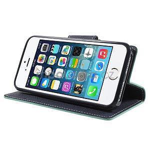 Dvoubarevné peněženkové pouzdro na iPhone 5 a 5s - azurové/tmavěmodré - 4