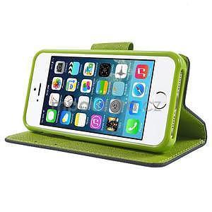 Dvoubarevné peněženkové pouzdro na iPhone 5 a 5s - tmavěmodré/zelené - 4