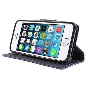 Dvoubarevné peněženkové pouzdro na iPhone 5 a 5s - fialové/tmavěmodré - 4