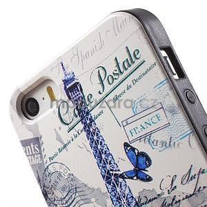 Gelové pouzdro na iPhone 5 a 5s - Eiffelova věž a motýlci - 4