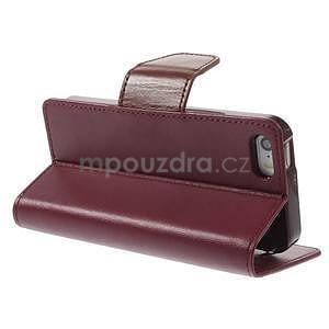 Peněženkové koženkové pouzdro na iPhone 5s a iPhone 5 - vínové - 4