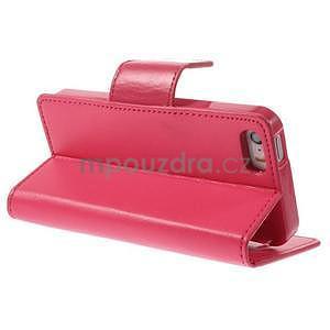 Dvoubarevné peněženkové pouzdro na iPhone 5 a 5s - rose/růžové - 4