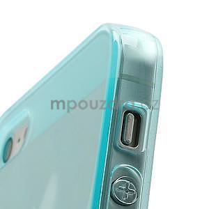 Gelový transparentní obal na iPhone 5 a 5s - světle modrý - 4