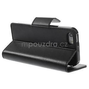 Černé koženkové peněženkové pouzdro na iPhone 5s a iPhone 5 - 4