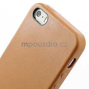 Gelový obal s texturou na iPhone 5 a 5s - oranžový - 4