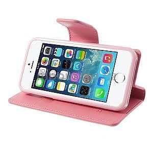 Peněženkové koženkové pouzdro na iPhone 5s a iPhone 5 - růžové - 4