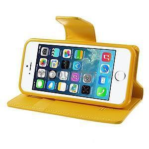 Peněženkové koženkové pouzdro na iPhone 5s a iPhone 5 - žluté - 4