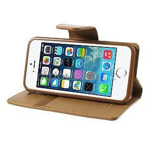 Peněženkové koženkové pouzdro na iPhone 5s a iPhone 5 - coffee - 4