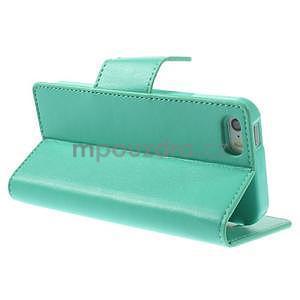 Peněženkové koženkové pouzdro na iPhone 5s a iPhone 5 - azurové - 4