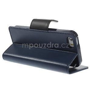 Peněženkové koženkové pouzdro na iPhone 5s a iPhone 5 - tmavěmodré - 4