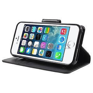 Peněženkové koženkové pouzdro na iPhone 5 a iPhone 5s - černé - 4