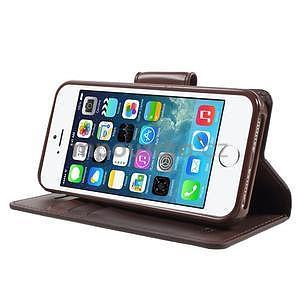 Peněženkové koženkové pouzdro na iPhone 5 a iPhone 5s - tmavěhnědé - 4