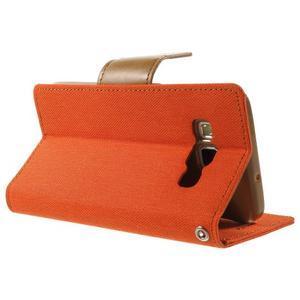 Luxury textilní/koženkové pouzdro na Samsung Galaxy A3 - oranžové - 4
