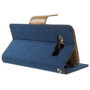Luxury textilní/koženkové pouzdro na Samsung Galaxy A3 - modré - 4