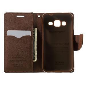 Fancy PU kožené pouzdro na Samsung Galaxy Core Prime - černé/hnědé - 4