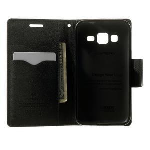 Fancy PU kožené pouzdro na Samsung Galaxy Core Prime - hnědé/černé - 4