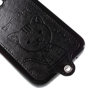 Kočička Domi kryt s koženkovými zády na Samsung Galaxy Core Prime - černý - 4