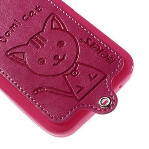 Kočička Domi kryt s koženkovými zády na Samsung Galaxy Core Prime - rose - 4