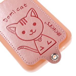 Kočička Domi kryt s koženkovými zády na Samsung Galaxy Core Prime - růžový - 4