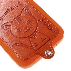 Kočička Domi kryt s koženkovými zády na Samsung Galaxy Core Prime - oranžový - 4
