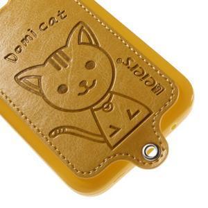Kočička Domi kryt s koženkovými zády na Samsung Galaxy Core Prime - žlutý - 4