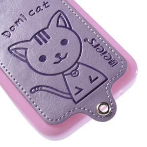 Kočička Domi kryt s koženkovými zády na Samsung Galaxy Core Prime - fialový - 4