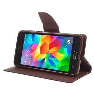Diary PU kožené pouzdro na mobil Samsung Galaxy Grand Prime - čené/hnědé - 4
