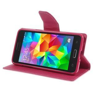 Diary PU kožené pouzdro na mobil Samsung Galaxy Grand Prime - růžové - 4