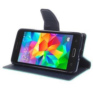Diary PU kožené pouzdro na mobil Samsung Galaxy Grand Prime - cyan - 4