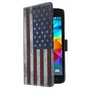 Wallet PU kožené pouzdro na mobil Samsung Galaxy Grand Prime - US vlajka - 4
