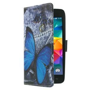 Wallet PU kožené pouzdro na mobil Samsung Galaxy Grand Prime - modrý motýl - 4