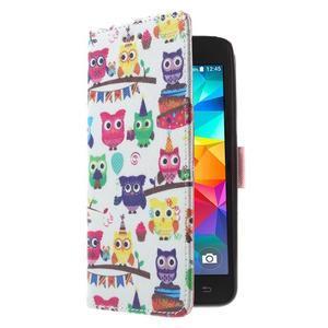 Wallet PU kožené pouzdro na mobil Samsung Galaxy Grand Prime - sovičky - 4