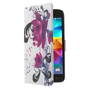Wallet PU kožené pouzdro na mobil Samsung Galaxy Grand Prime - květy - 4