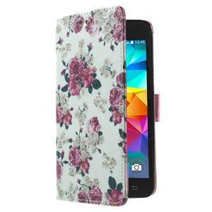 Wallet PU kožené pouzdro na mobil Samsung Galaxy Grand Prime - květiny - 4
