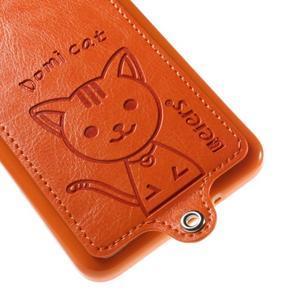 Kočička Domi kryt s PU koženými zády pro Samsung Galaxy Grand Prime - oranžový - 4