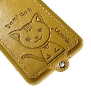 Kočička Domi kryt s PU koženými zády pro Samsung Galaxy Grand Prime - žlutý - 4