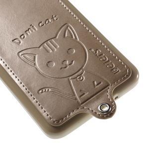 Kočička Domi kryt s PU koženými zády pro Samsung Galaxy Grand Prime - zlatý - 4