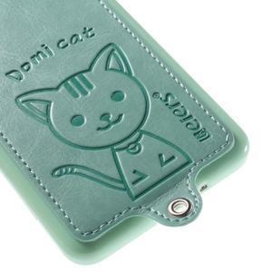 Kočička Domi kryt s PU koženými zády pro Samsung Galaxy Grand Prime - cyan - 4