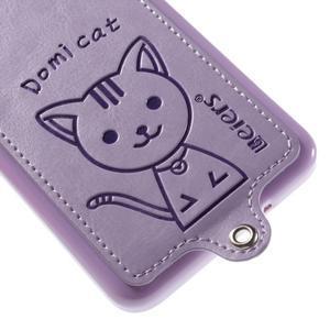 Kočička Domi kryt s PU koženými zády pro Samsung Galaxy Grand Prime - fialový - 4