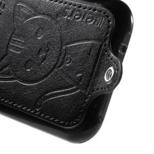 Obal s koženkovými zády a kočičkou Domi pro Samsung Galaxy J1 - černý - 4