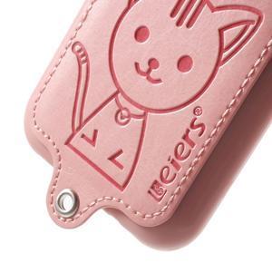 Obal s koženkovými zády a kočičkou Domi pro Samsung Galaxy J1 - růžový - 4