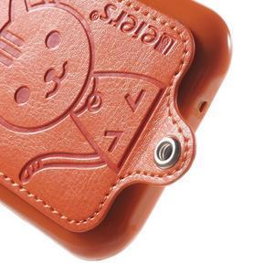 Obal s koženkovými zády a kočičkou Domi pro Samsung Galaxy J1 - oranžový - 4