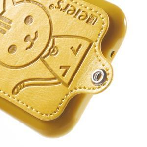 Obal s koženkovými zády a kočičkou Domi pro Samsung Galaxy J1 - žlutý - 4