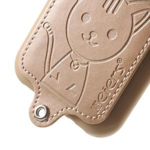 Obal s koženkovými zády a kočičkou Domi pro Samsung Galaxy J1 - zlatý - 4