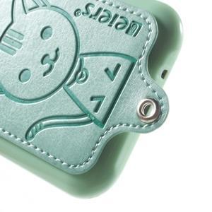 Obal s koženkovými zády a kočičkou Domi pro Samsung Galaxy J1 - azurový - 4
